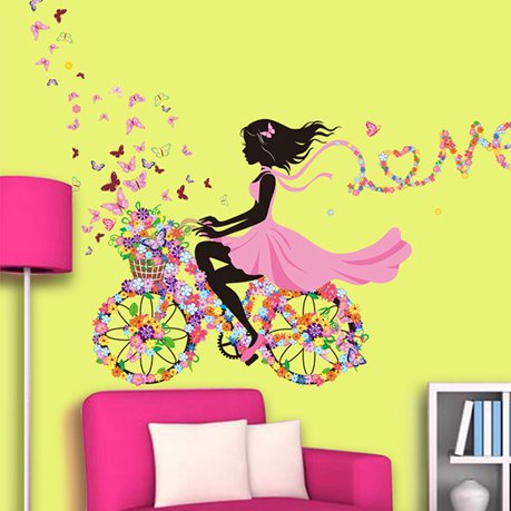 Wall sticker removable vinyl butterfly flower girl decal for Walmart art decor