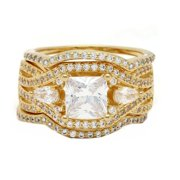Pat 3 Ring CZ Gold Plated Engagement Wedding Band Bridal Set