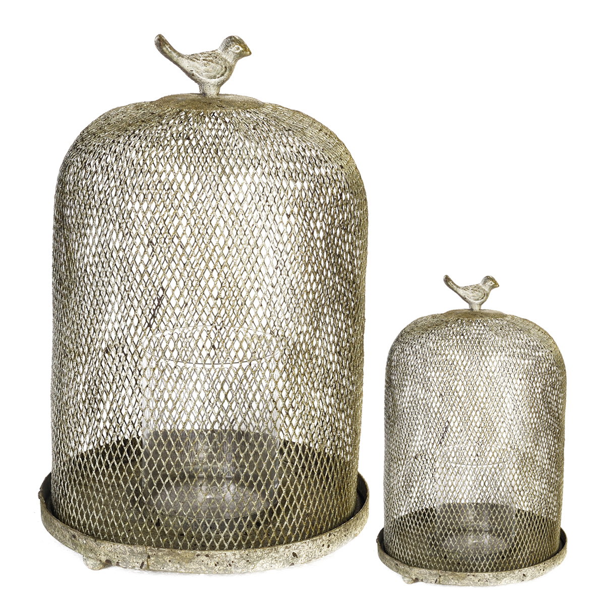 A&B Home Ophira Golden Sparrow Mesh Candle Holders, Set of 2