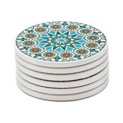 Turquoise Coasters for Drinks Absorbent Ceramic Stone with Cork Backing Mandala Style Coaster Set Modern Coasters for Cups