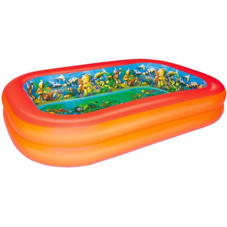 86 x 69 x 20 interactive series 3d adventure inflatable pool - Rectangle Inflatable Pool