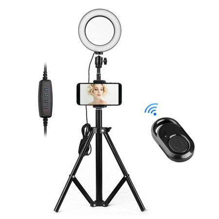 "TSV 6.3"" Selfie Ring Light with Tripod Stand Phone Holder, Dimmable LED Camera Ring Light with Bluetooth Remote Shutter for Live Stream, Makeup, YouTube Video, Photography"