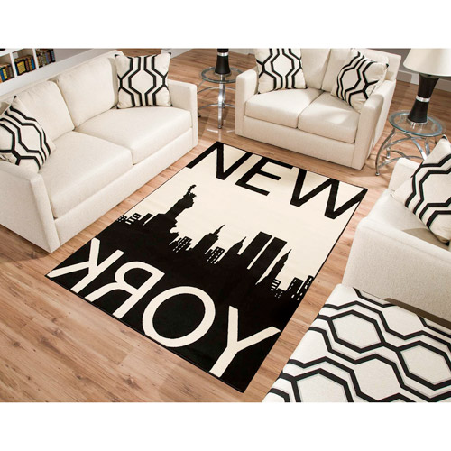 Terra New York Rectangle Area Rug Black/White