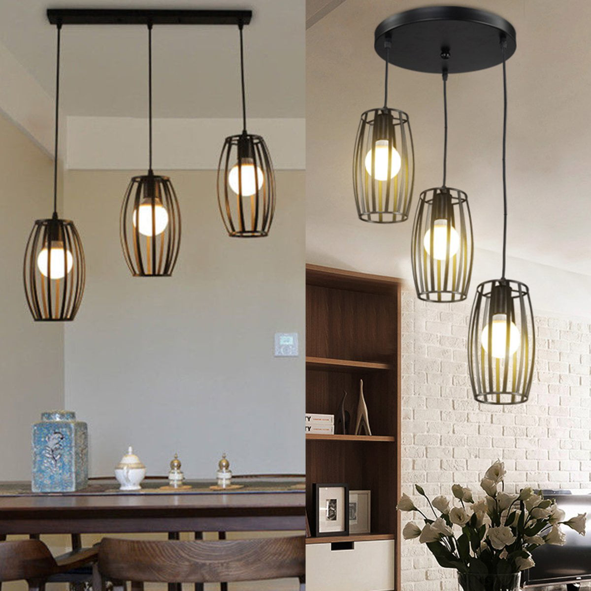 Industrial 3 Light Pendant Lighting Adjustable Hanging Light Fixtures Vintage Farmhouse Pendant Light With Metal Caged E27 Base For Kitchen Island Dining Room Living Room Hotel Walmart Com Walmart Com