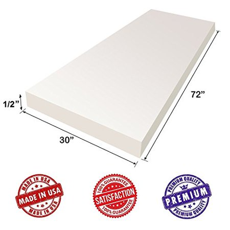 """Upholstery Foam Cushion Sheet- 1/2""""x30""""x72""""-High Density Support-Premium Luxury Quality- Good for Sofa Cushion, Mattresses, Wheelchair, Poker Table, and Much More- by Dream Solutions USA"""