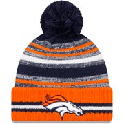 Denver Broncos New Era 2021 NFL Sideline Sport Official Pom Cuffed Knit Hat - Navy/Orange - OSFA