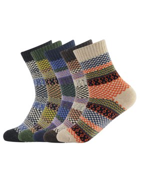 Mens Wool Socks Thick Heavy Thermal Fuzzy Warm Winter Crew Socks For Cold Weather 5 Pairs