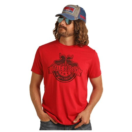 Rock & Roll Cowboy Dale Brisby Graphic Tee Ridin' Bulls Punchin' Fools, Red (XX-Large) ()