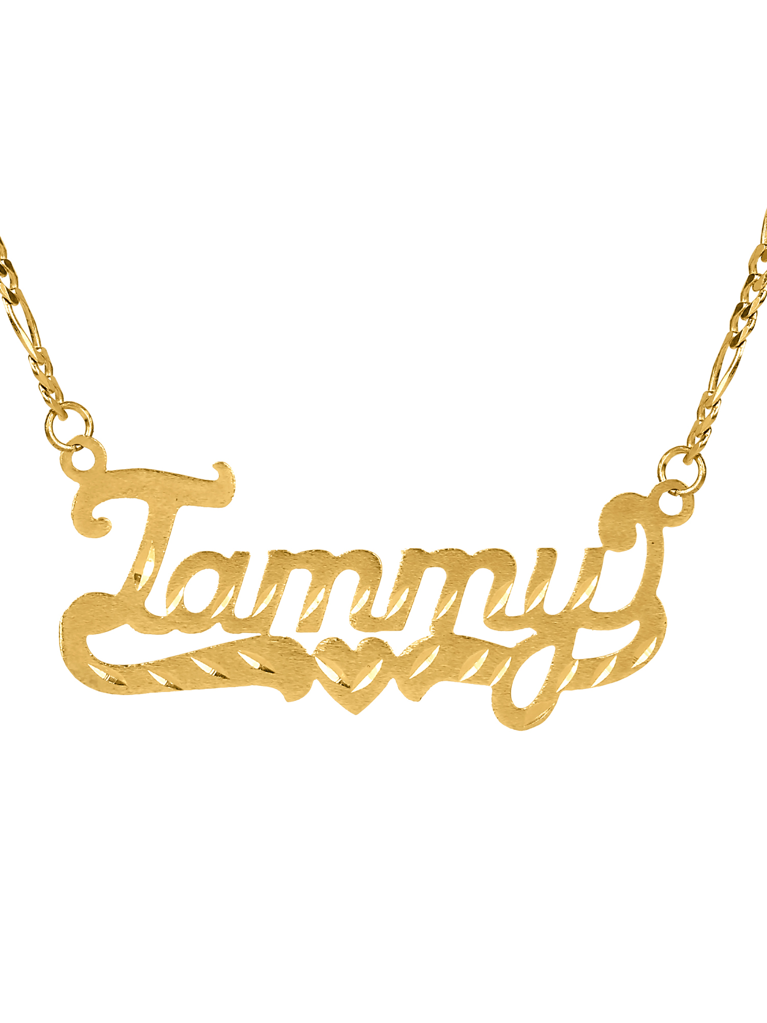 "Personalized 10K Yellow Gold ""Tammy"" Single Nameplate Necklace With Heart and Tail With 18 inch Link Chain"
