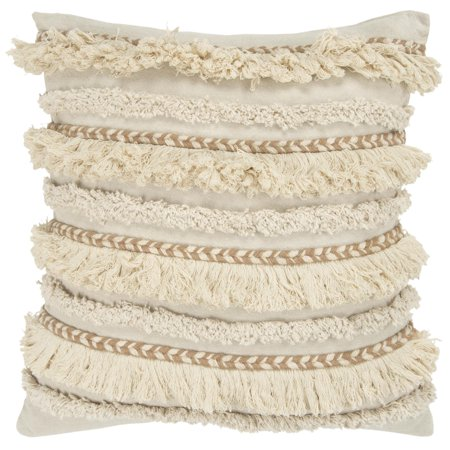 """Rizzy Home Decorative Downfilled Throw Pillow Stripe 20""""X20"""" Natural by Rizzy Home"""
