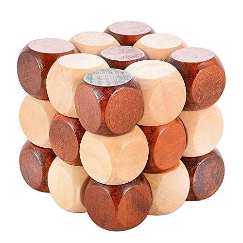 Sanmersen Wood Made 3D Brain Teasers Cube Puzzles Interlocking Jigsaw Puzzles Game Toy for Kids Teens Adults... by