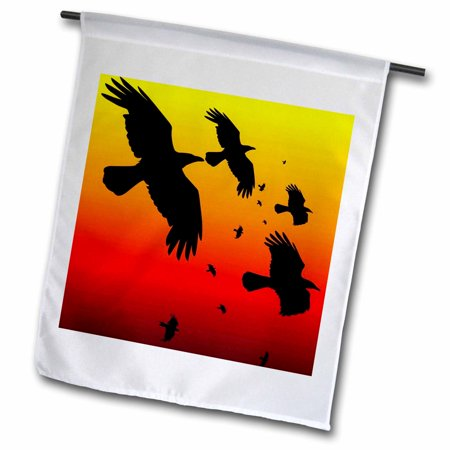 3dRose Ravens On A Red Sky- animal, bird, birds, crow, halloween, myth, mythological, mythology, raven - Garden Flag, 12 by 18-inch](Sky Garden Halloween)