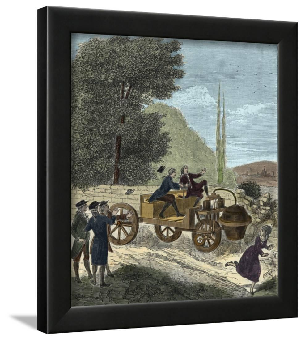 Steam-Powered Car Invented By Nicolas Joseph Cugnot Framed