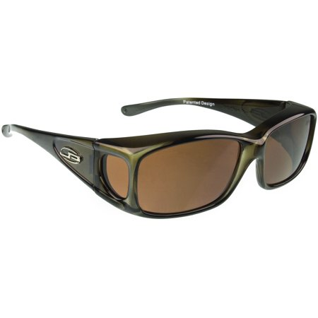 Fit Overs Sunglasses - The Razor Collection - Olive Charcoal Frame/polarized Amber Lens ()