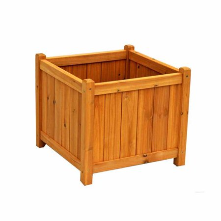 Leisure Season Square Planter Box, Medium Brown](Wood Planter Boxes)