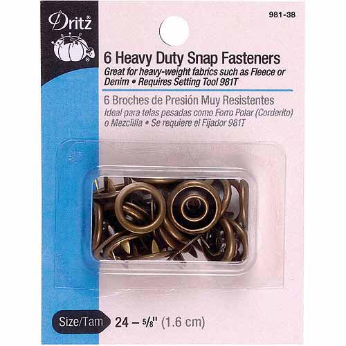 """Dritz Heavy-Duty Snap Fasteners, 5/8"""", 6pk"""