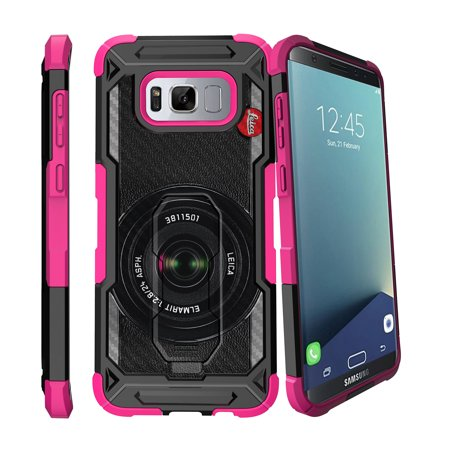 - Case for Samsung Galaxy S8 Plus Version [ UFO Defense Case ][Galaxy S8 PLUS SM-G955][Pink Silicone] Carbon Fiber Texture Case with Holster + Stand Unique Collection