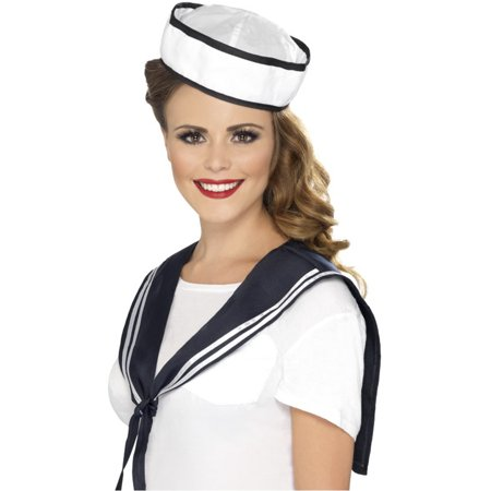Sailor Costume Hat (Womens Navy Sailor Yacht Boat Captain Scarf And Hat Kit Costume)