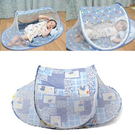 Foldable Baby Infant Crib Cradle,Anti-Bug Tent Mosquito Net With Mattress Pillow Portable Nursery Bed Crib Canopy Travel Beach Park Play Shades