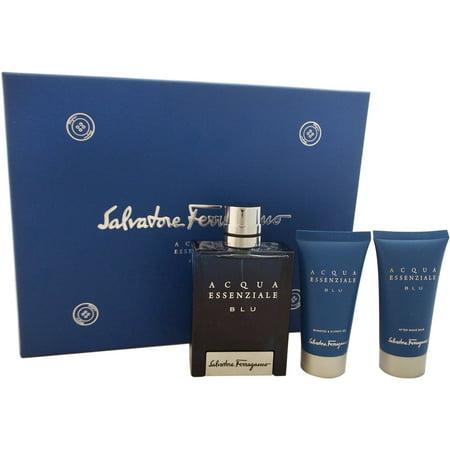 Acqua Essenziale Blu by Salvatore Ferragamo for Men - 3 Pc Gift Set 3.4oz EDT Spray, 1.7oz Shampoo And Shower Gel, 1.7oz After Shave Balm