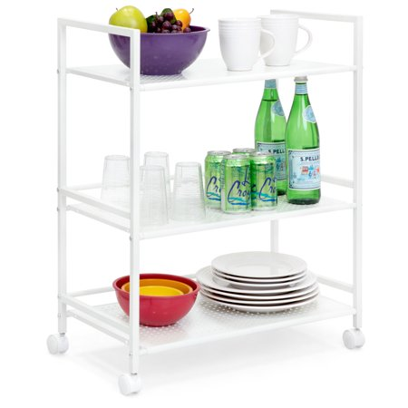 Best Choice Products 3-Tier Multifunctional Portable Metal Rolling Utility Storage Organizer Serving Bar Trolley Cart for Kitchen, Bathroom, Microwave w/ Removable Perforated Shelves, Locking -