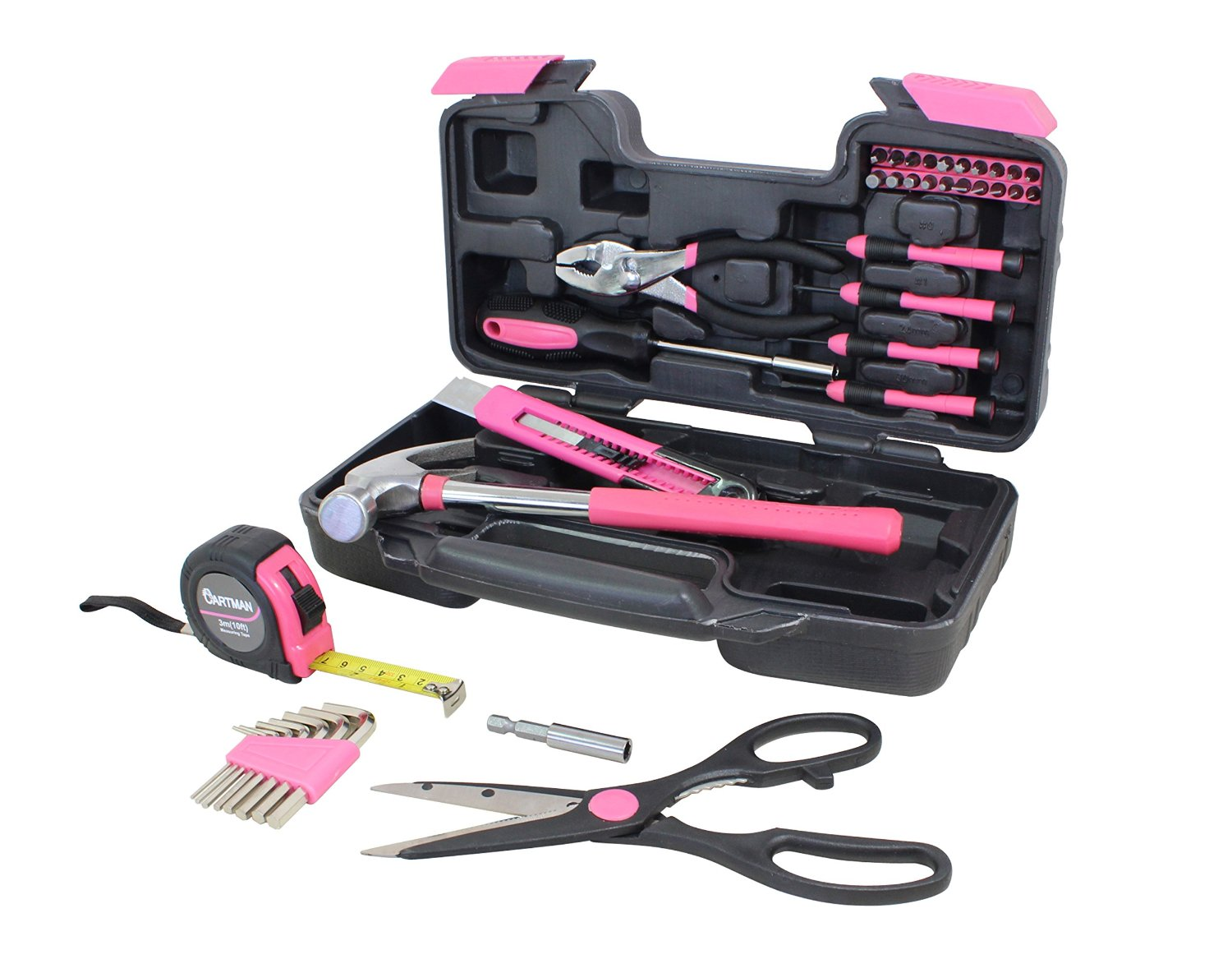 d20e09bbfcb Cartman Pink 39-Piece Tool Set - General Household Hand Tool Kit with Plastic  Toolbox Storage Case - Walmart.com