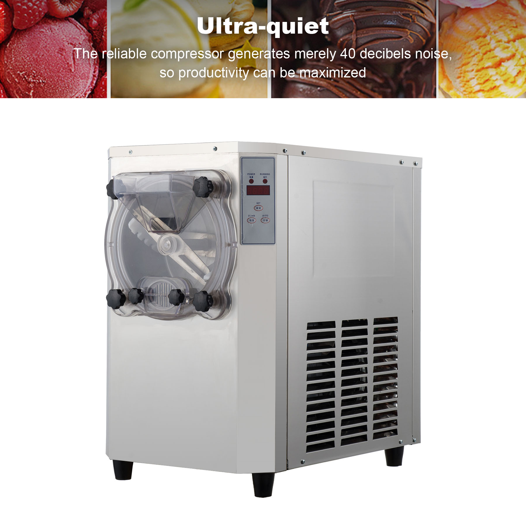 Commercial Hard Ice Cream Machine 15-22L/H 304 Stainless Steel Ice Cream Maker 1400W