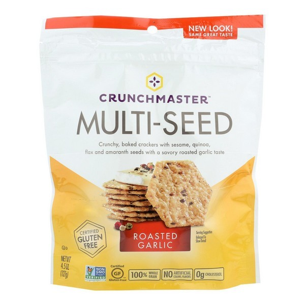 Crunchmaster Multi-seed Crackers - Roasted Garlic - pack of 12 - 4.5 Oz.