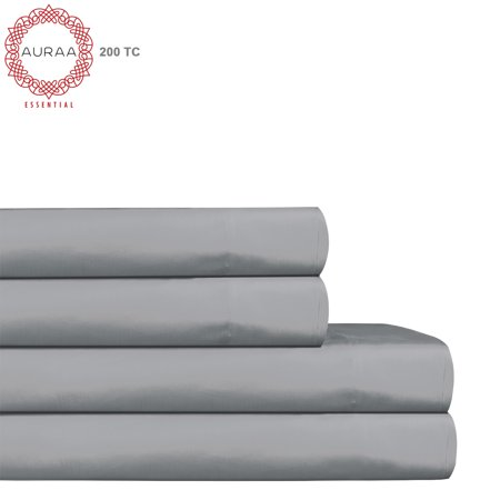 Cotton King Bed - Auraa Essential 200 TC Cotton 4 PC King Sheet Set