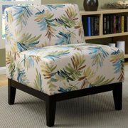 A Line Furniture Sycamore Artistic Blue/Green Leaf Printed Design Slipper Accent Chair