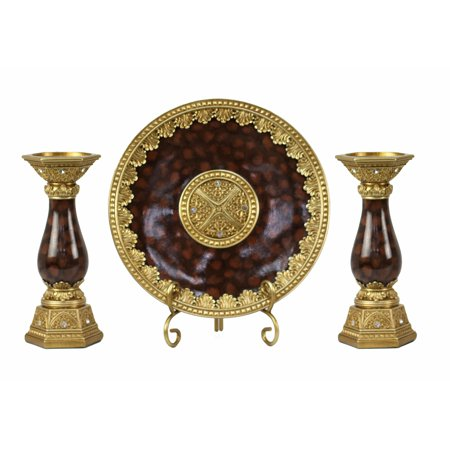 D'Lusso Designs Paoletta Collection Four Piece Charger, Stand And Two Candlestick Set 3 Piece Candlestick Set