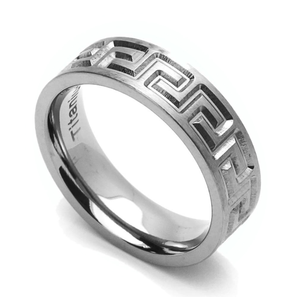 Men Women 6MM Comfort Fit Titanium Wedding Band Greek Key Flat Ring (Size 6 to 14) by