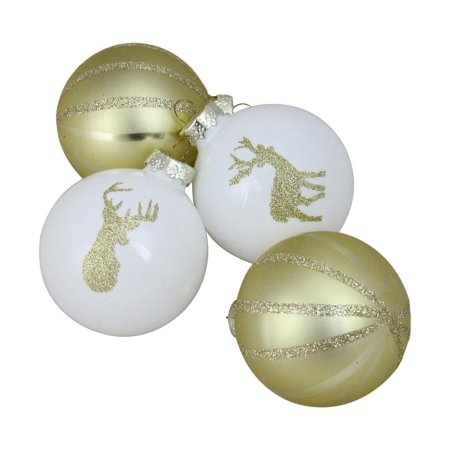 4-Piece Champagne Gold and White Striped Deer Christmas Glass Ball Ornaments 3.5