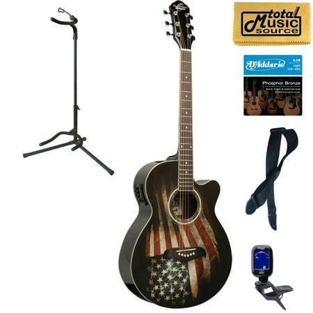 Oscar Schmidt OG10CE Cutaway Concert A/E Guitar, American Flag, Stand