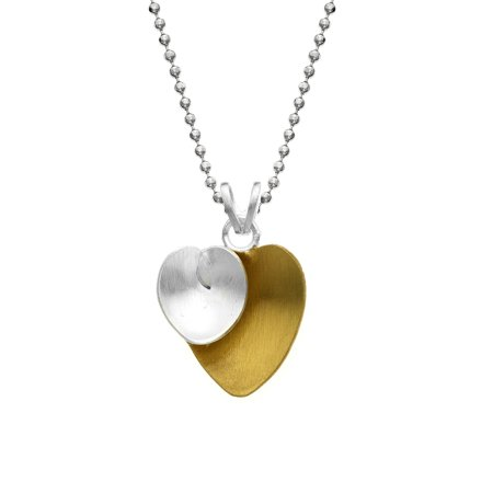 Abstract Heart Necklace - Gold and Silver Plated Abstract Double Heart Pendant with Chain