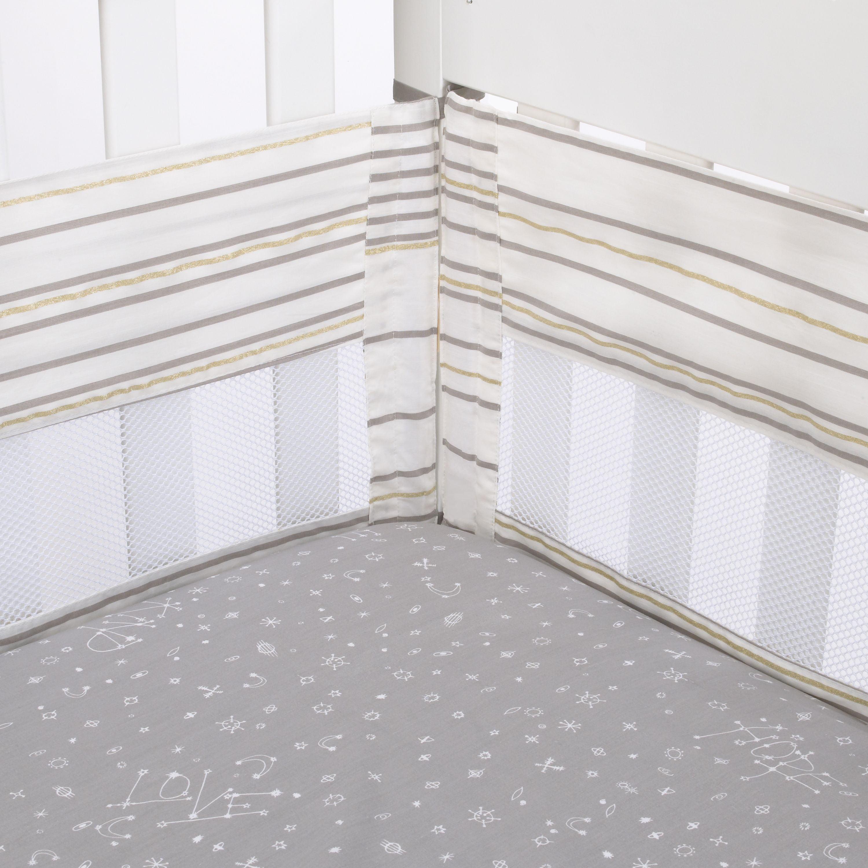 ED Ellen DeGeneres Starry Night - Grey, White, Metallic Gold Multi Stripes Secure-Me Crib Liner