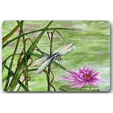 WinHome Lotus And Dragonfly Doormat Floor Mats Rugs Outdoors/Indoor Doormat Size 23.6x15.7 inches