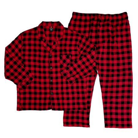 Plaid Flannel Pajama Top - Hanes Mens 2 Piece Red/Black Plaid Flannel Shirt & Pants Pajama Sleep Set  - Size - XX-Large