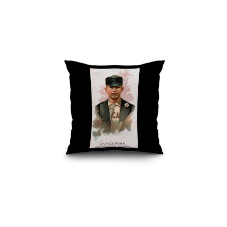 Chicago White Stockings   James Ryan   Baseball Card  16X16 Spun Polyester Pillow  Black Border