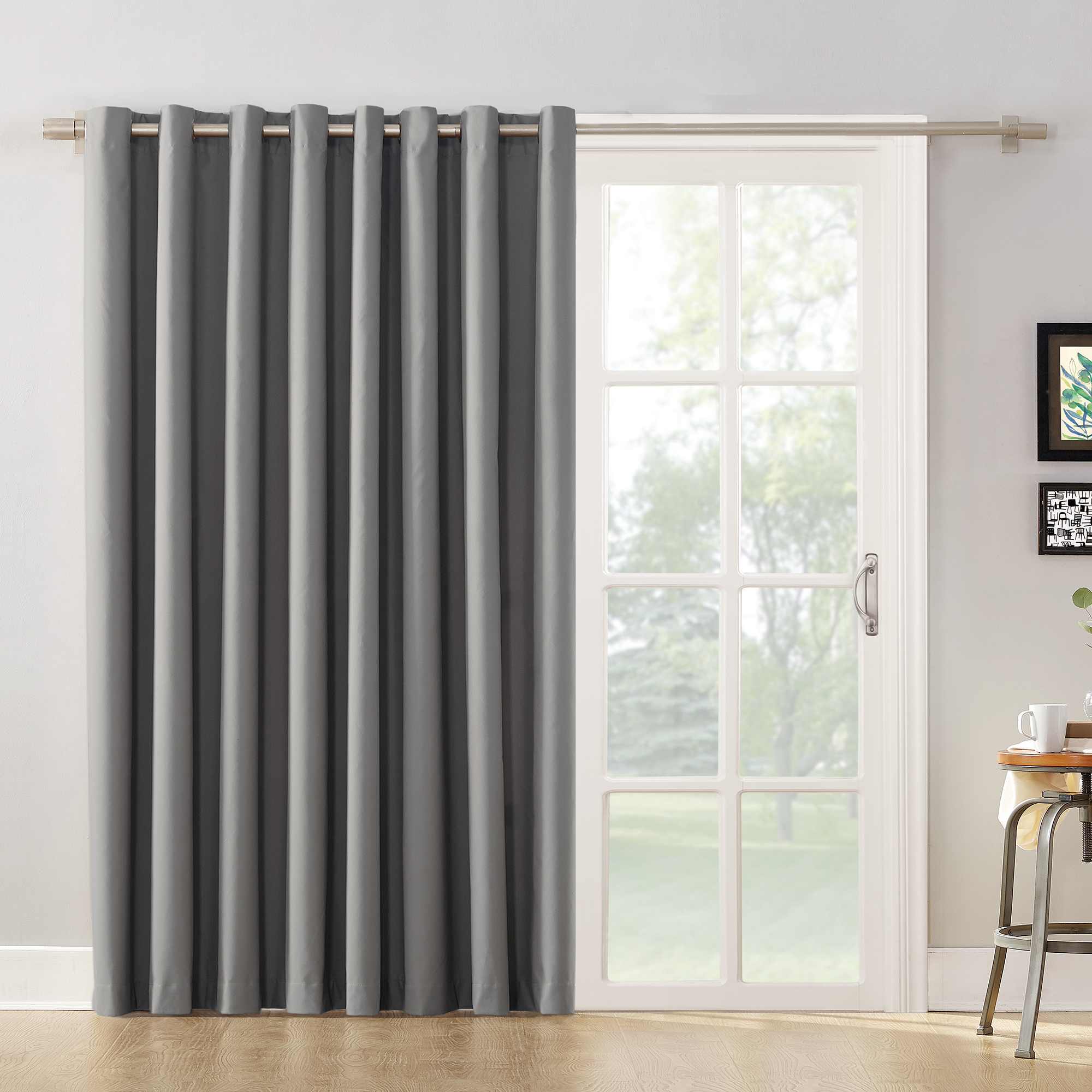 Bon Mainstays Sliding Glass Door Thermal Lined Room Darkening Grommet Curtain  Panel