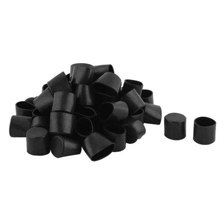 Furniture Chair Table Leg PVC Round Tube Foot Covers Black 28mm Inner Dia 50 PCS
