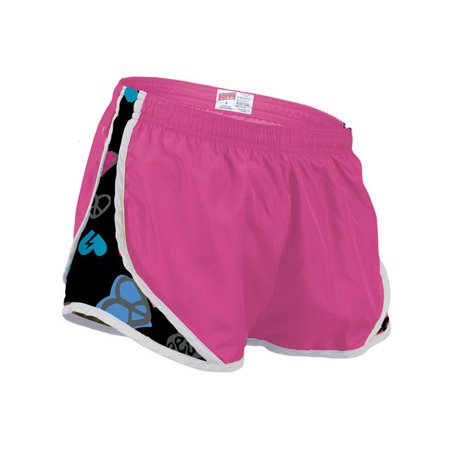 Side Mesh Insert - Shorty Short with Printed Mesh Side Inserts for Girl, Carmine Rose & Peace Heart - Medium