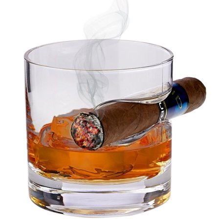 Whiskey Glass with Cigar Holder – Double Old Fashioned Glass with Built-In Cigar Rest - 12