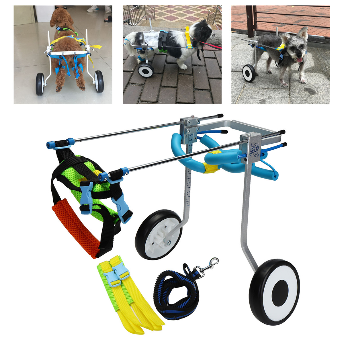 5'' Aluminium Pet Dog Cat Wheelchair Walk Cart Scooter For Handicapped Hind Leg