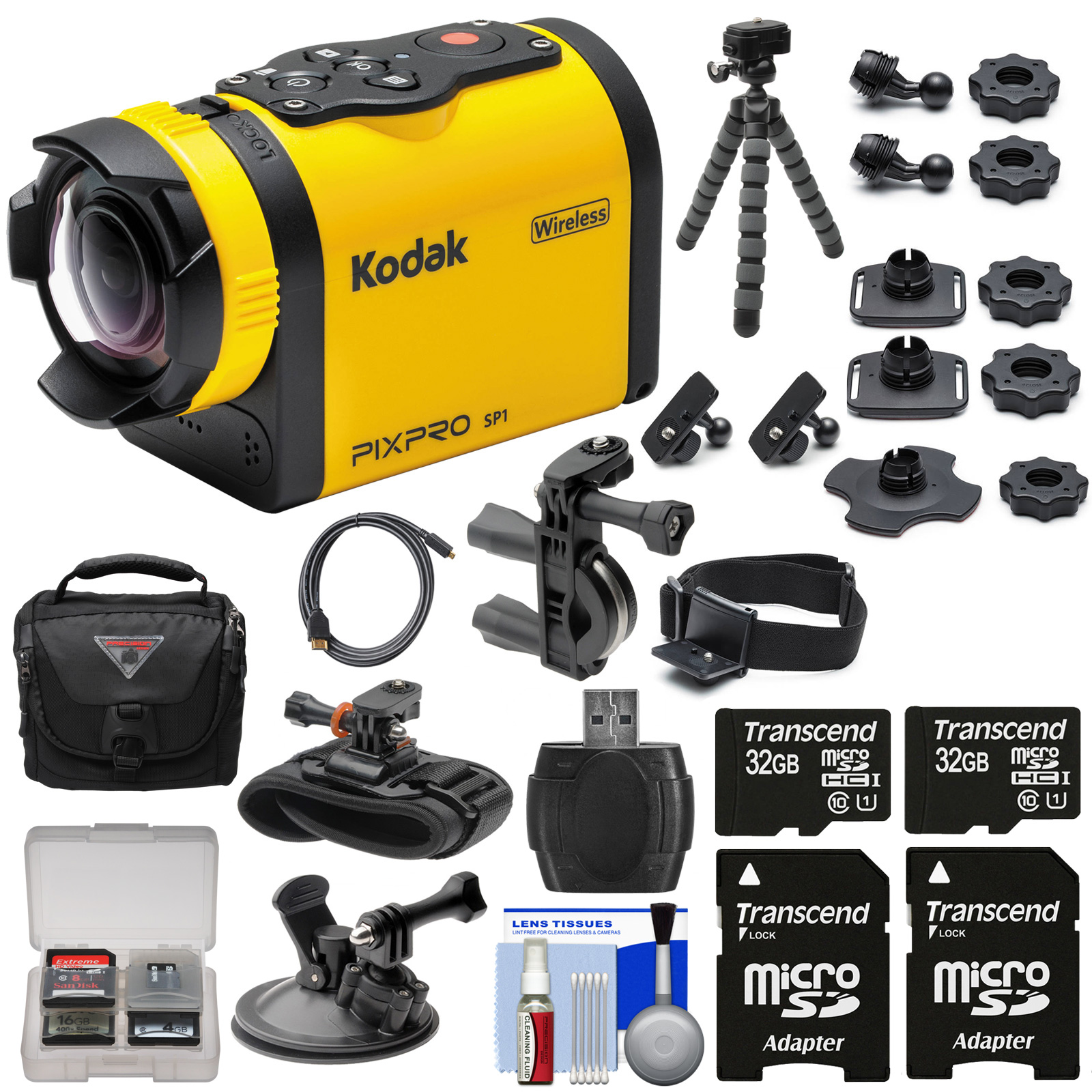 Kodak PixPro SP1 Video Action Camera Camcorder - Aqua Sport Pack with Handlebar, Wrist & Suction Cup Mounts + 64GBs + Case + Tripod Kit