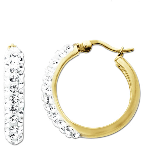 Luminesse 18kt Gold over Sterling Silver White Hoop Earrings made with Swarovski Elements