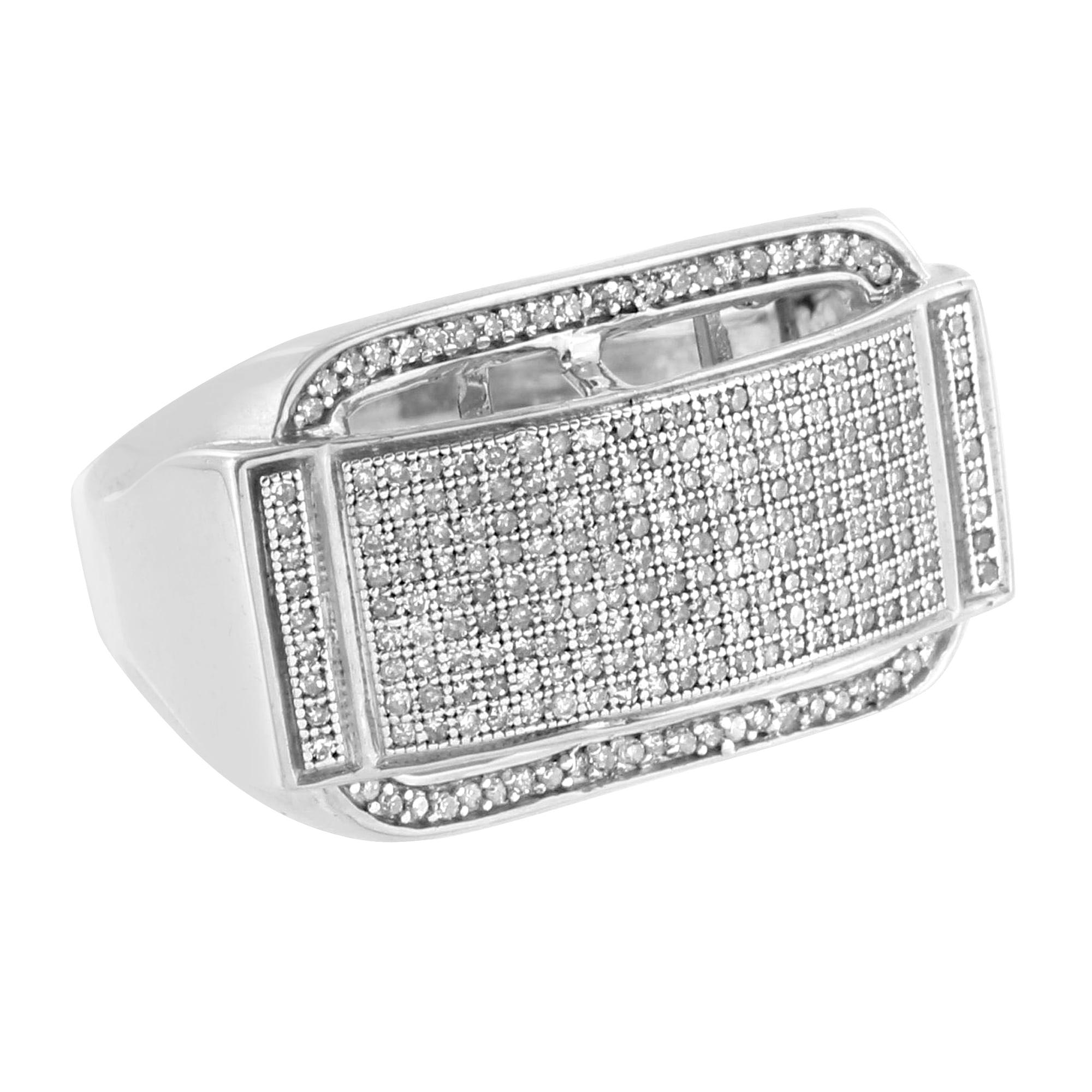 Sterling Silver Mens Pinky Ring Genuine Diamonds Wedding ...