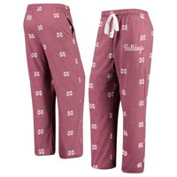 Mississippi State Bulldogs Women's Lounge Allover Logo Print Pants - Maroon