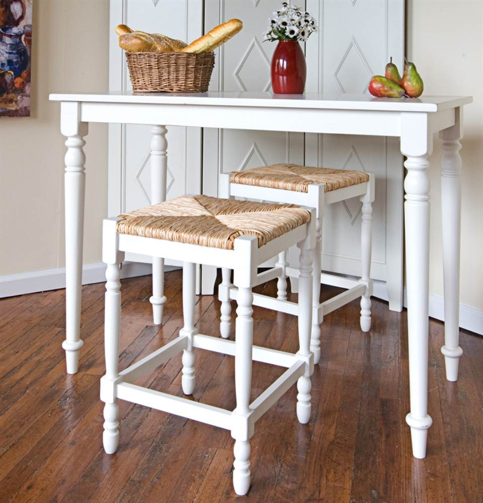 3 Pc Bar Amp Counter Stools Set In Antique White Finish