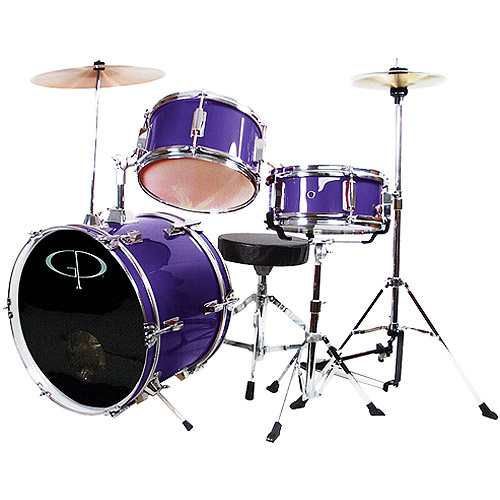 GP Percussion 3-Piece Complete Junior Drum Set, Purple